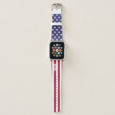 USA Themed United States Stars And Stripes Personalized Apple Watch Band