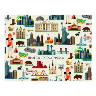 United States Symbols Pattern Postcard