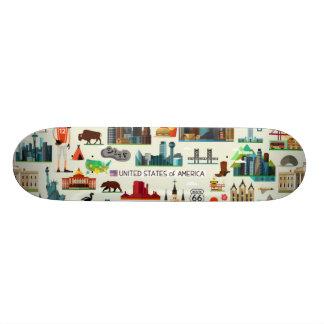 United States Symbols Pattern Skateboard