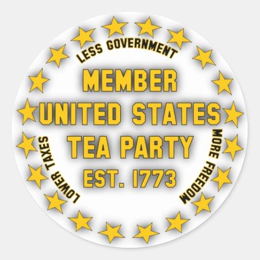 United States Tea Party Classic Round Sticker