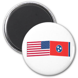 United States & Tennessee Flags Refrigerator Magnet