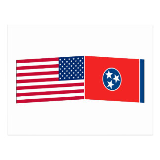 United States & Tennessee Flags Postcard