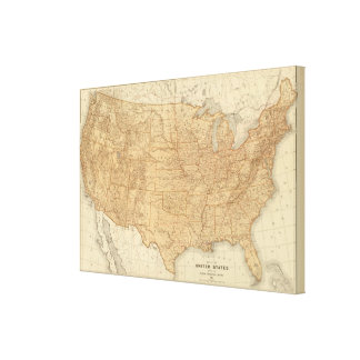 United States topographical features Stretched Canvas Prints
