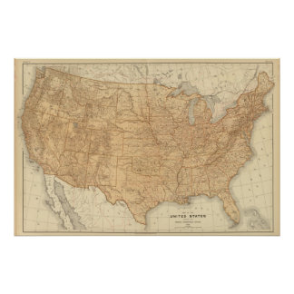 United States topographical features Poster