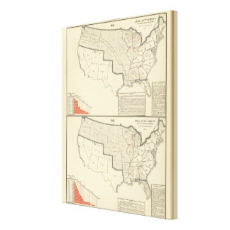 United States Two color lithographed maps Canvas Print