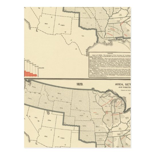 United States Two color lithographed maps Postcard