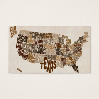 United States Typography Text Map Business Card