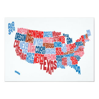 United States Typography Text Map Card