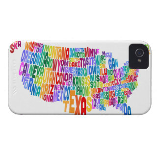 United States Typography Text Map iPhone 4 Cases