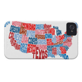 United States Typography Text Map iPhone 4 Cover