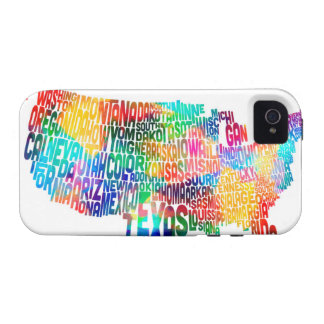 United States Typography Text Map Vibe iPhone 4 Cases