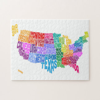 United States Typography Text Map Jigsaw Puzzle