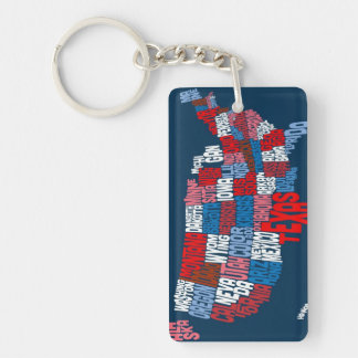 United States Typography Text Map Keychain