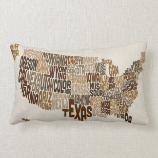 United States Typography Text Map Throw Pillow