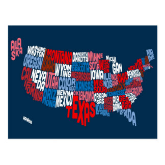 United States Typography Text Map Postcard