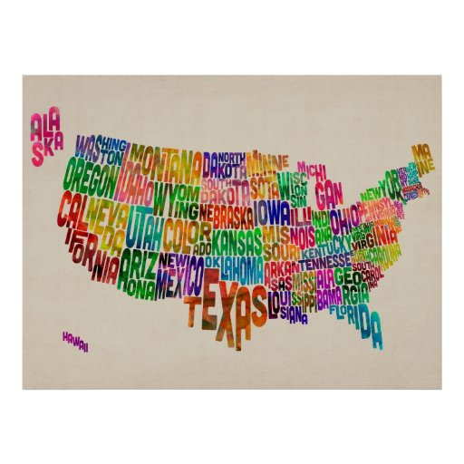 United States Typography Text Map Posters
