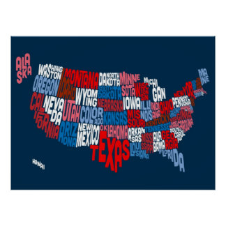 United States Typography Text Map Print