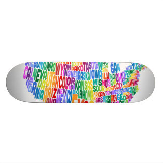 United States Typography Text Map Skateboard