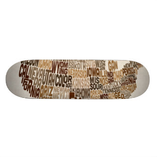 United States Typography Text Map Custom Skate Board