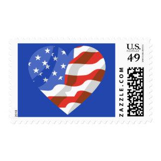 United States US Flag USA Heart Patriotic Postage