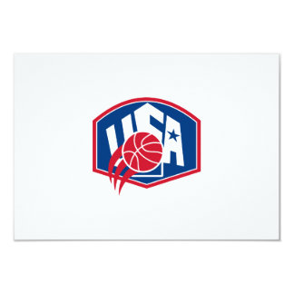 United States USA American Basketball Ball Shield 3.5x5 Paper Invitation Card