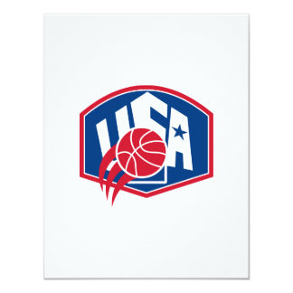 United States USA American Basketball Ball Shield 4.25x5.5 Paper Invitation Card
