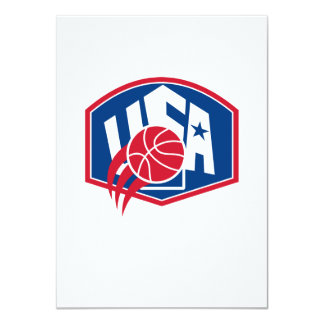 United States USA American Basketball Ball Shield 4.5x6.25 Paper Invitation Card