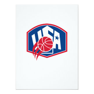 United States USA American Basketball Ball Shield 5.5x7.5 Paper Invitation Card