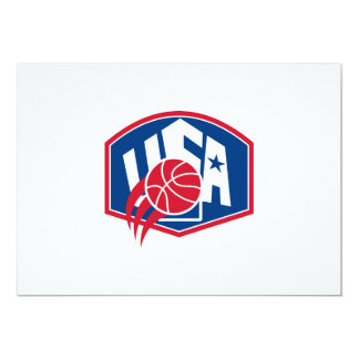 United States USA American Basketball Ball Shield 5x7 Paper Invitation Card
