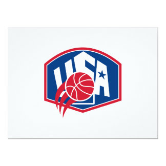 United States USA American Basketball Ball Shield 6.5x8.75 Paper Invitation Card