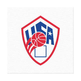 United States USA American Basketball Ball Shield Canvas Prints