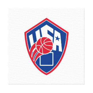United States USA American Basketball Ball Shield Stretched Canvas Prints