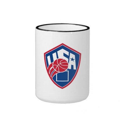 United States USA American Basketball Ball Shield Ringer Mug