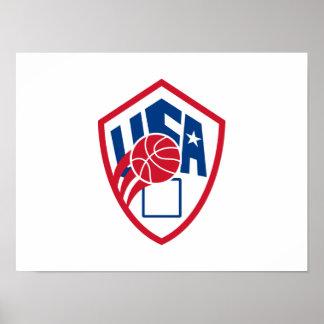 United States USA American Basketball Ball Shield Print