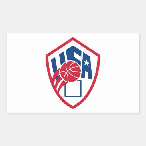 United States USA American Basketball Ball Shield Rectangle Sticker