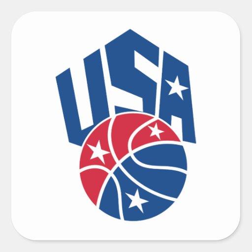 United States USA American Basketball Ball Square Sticker