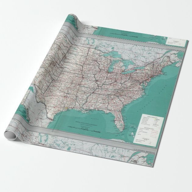 United States Usa Road Map Decorative Roll Wrapping Paper Zazzle: Paper Road Map Of Usa At Infoasik.co
