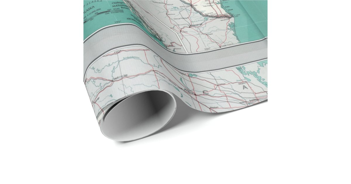United states usa road map decorative roll wrapping paper for Decorative paper rolls