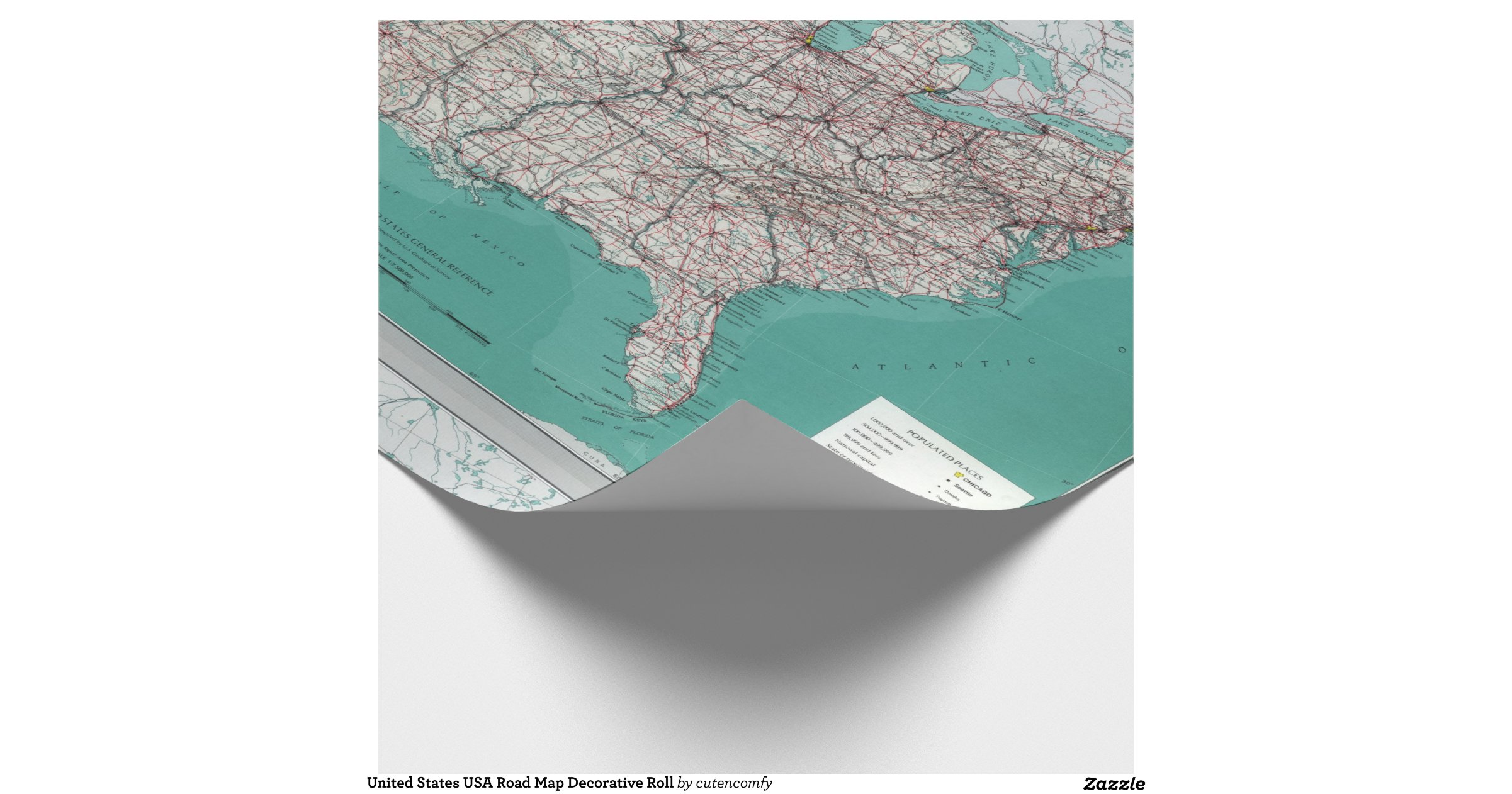 United states usa road map decorative roll wrappingpaper for Decorative paper rolls