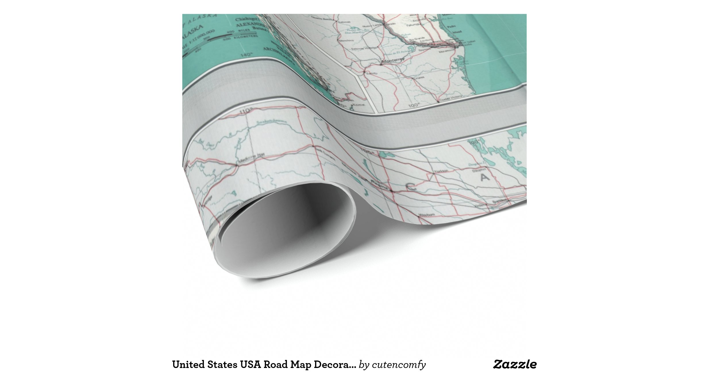 United states usa road map decorative roll wrappingpaper on Paper Road Map Usa