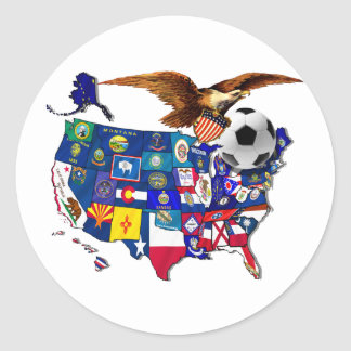 United States USA Soccer Eagle Classic Round Sticker
