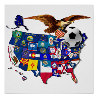 United States USA Soccer Eagle Poster