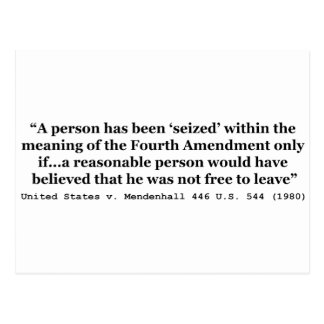 United States v Mendenhall 446 US 544 1980 Postcard