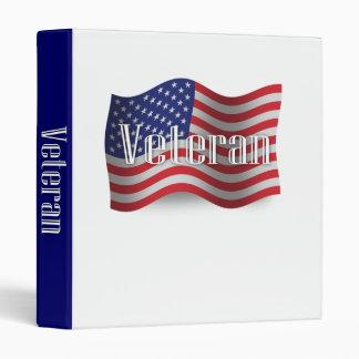 United States Veteran Waving Flag 3 Ring Binder