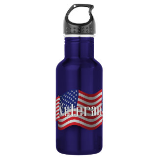United States Veteran Waving Flag 18oz Water Bottle