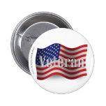 United States Veteran Waving Flag Pins