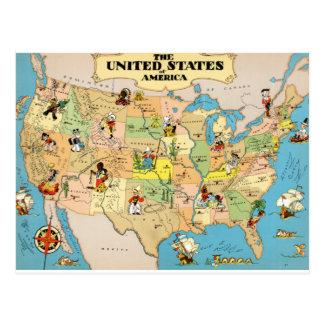 United States Vintage Map Postcard