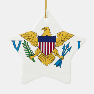United States Virgin Islands Flag Double-Sided Star Ceramic Christmas Ornament