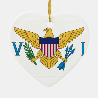 United States Virgin Islands Flag Double-Sided Heart Ceramic Christmas Ornament