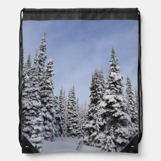 United States, Washington, snow covered trees Drawstring Backpacks